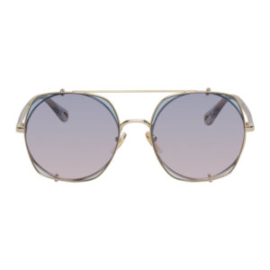 Chloe Gold and Blue Demi Clip-On Pilot Sunglasses
