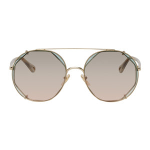 Chloe Gold and Green Demi Clip-On Pilot Sunglasses