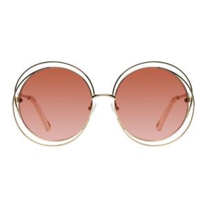Chloe Gold and Pink Circular Spiralling Sunglasses