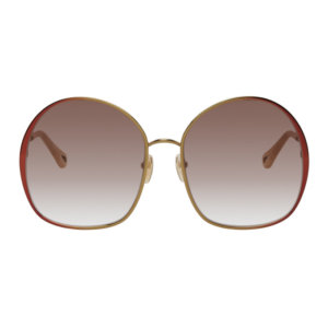 Chloe Gold and Red Irene Butterfly Sunglasses