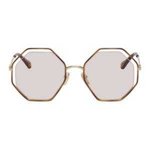 Chloe Gold and Tortoiseshell Poppy Octagonal Sunglasses