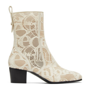 Chloe Off-White Lace Goldee Boots