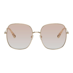 Chloe Rose Gold and Pink Metal Square Sunglasses