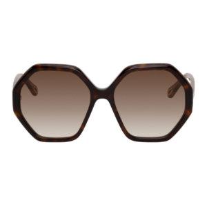 Chloe Tortoiseshell Esther Hexagonal Sunglasses