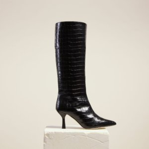 Dear Frances - Black Croc Leather Pull On Pointed Toe Knee High Boots
