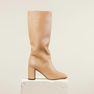 Dear Frances - Tan Leather Pull On Squared Toe Knee High Boots