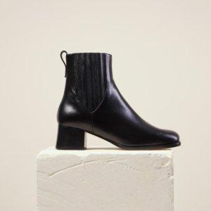 Dear Frances - Women's Black Leather Square Toe Chelsea Boots