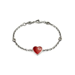 Exclusive Gucci Heart Aged Finish Sterling Silver and Red Enamel Bracelet