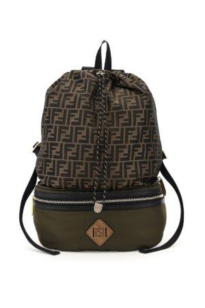 FENDI BELTPACK STYLE FOLDABLE NYLON BACKPACK FF OS Brown, Khaki, Black Cotton, Leather