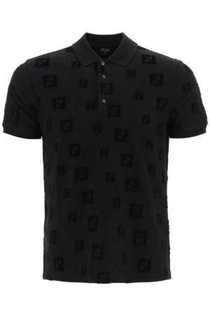 FENDI CHENILLE POLO SHIRT FF M Black Cotton