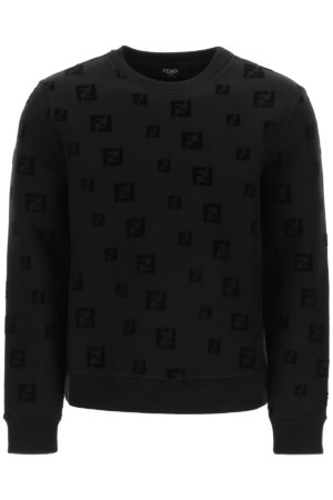 FENDI CREW NECK SWEATSHIRT FF LOGO M Black Cotton