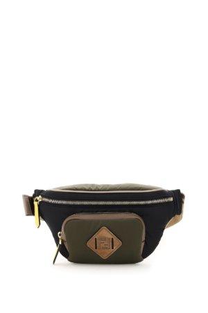 FENDI DOLMIAS NYLON BELT BAG OS Khaki, Black, Yellow Leather, Technical
