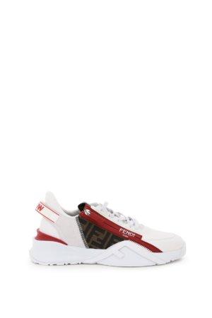 FENDI FENDI FLOW SNEAKERS 6 White, Brown, Red Leather, Technical, Cotton