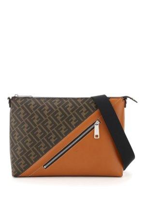 FENDI FF MESSENGER BAG OS Brown, Beige Leather, Cotton