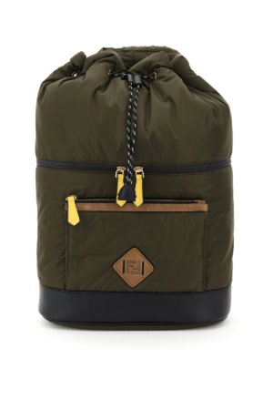 FENDI FF NYLON BACKPACK OS Khaki, Brown, Black Cotton, Leather