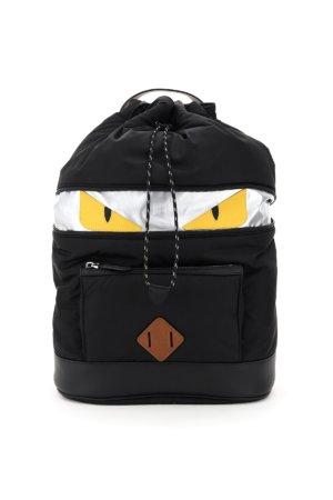 FENDI FF NYLON BAG BUGS BACKPACK OS Black, Silver, Yellow Cotton, Leather