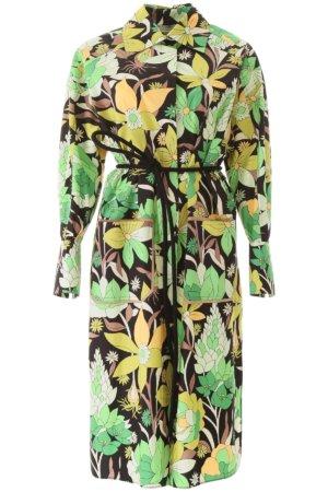 FENDI FLORAL SHIRT DRESS 40 Green, Black, Yellow Cotton