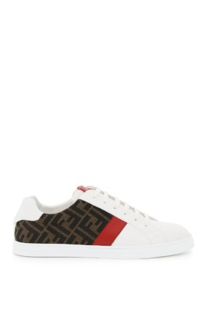 FENDI LEATHER AND FF FABRIC SNEAKERS 6 White, Brown, Red Cotton, Leather
