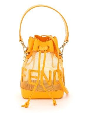FENDI MON TRESOR NET BUCKET BAG FENDI SCRIPT OS Orange Leather, Technical