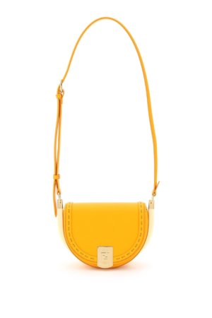 FENDI MOONLIGHT SHOULDER BAG OS Orange, White Leather