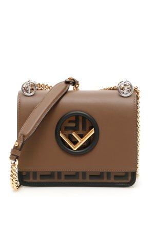 FENDI SMALL KAN I F BAG OS Brown, Black Leather