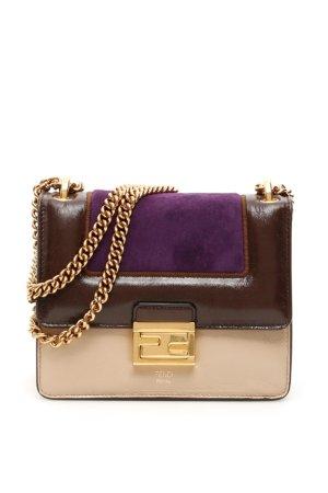 FENDI SMALL KAN U BAG OS Beige, Brown, Purple Leather
