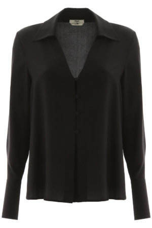 FENDI V NECK SHIRT 42 Black Silk