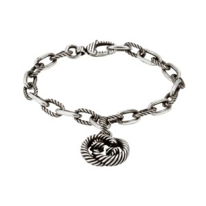 Interlocking G Silver Groumette Bracelet Size 17