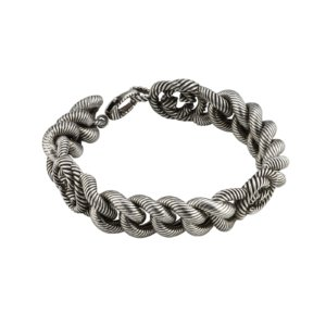 Interlocking G Silver Groumette Bracelet Size 19