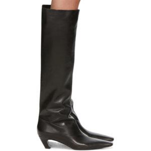 Khaite Black Slouch Boots