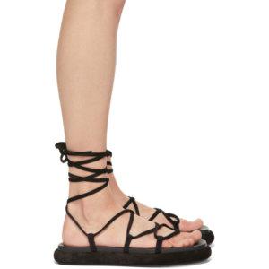 Khaite Black Suede The Alba Sandals