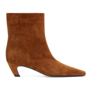 Khaite Tan Suede The Arizona Ankle Boots