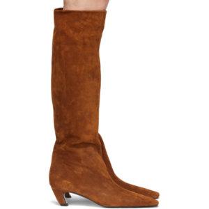 Khaite Tan Suede The Davis Tall Boots