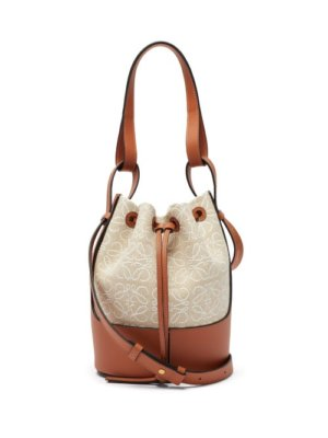 Loewe - Balloon Small Logo-embroidered Canvas Shoulder Bag - Womens - Beige Multi