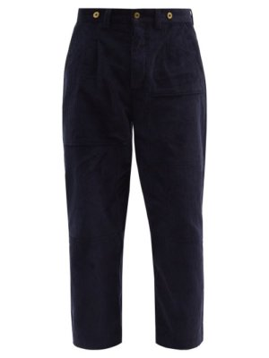 Loewe - Cropped Straight-leg Cotton-corduroy Trousers - Mens - Navy