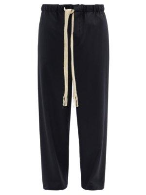 Loewe - Drawstring Waist Wool-blend Twill Trousers - Mens - Black