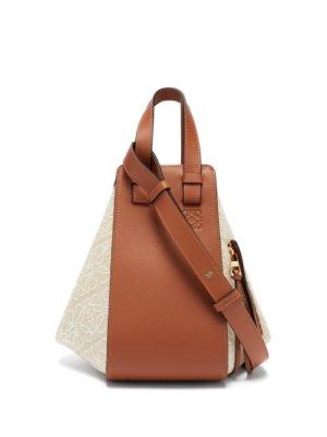 Loewe - Hammock Small Anagram-jacquard & Leather Tote Bag - Womens - Beige Multi