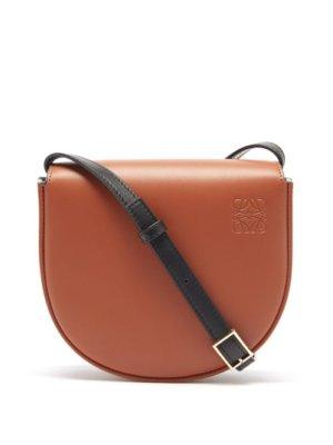 Loewe - Heel Bi-colour Leather Cross-body Bag - Womens - Black Tan