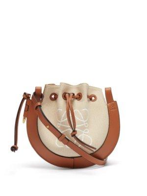 Loewe - Horseshoe Canvas And Leather Cross-body Bag - Womens - Beige Multi