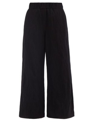 Loewe - Pinstriped Wool-blend Wide-leg Trousers - Womens - Black