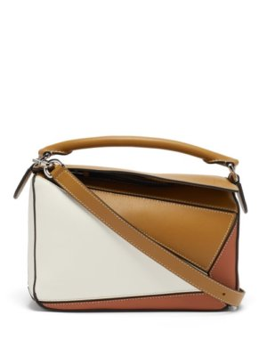 Loewe - Puzzle Leather Cross-body Bag - Womens - Brown Multi