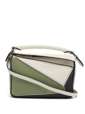 Loewe - Puzzle Leather Cross-body Bag - Womens - Green Multi