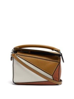 Loewe - Puzzle Mini Leather Cross-body Bag - Womens - Brown Multi