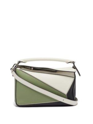 Loewe - Puzzle Mini Leather Cross-body Bag - Womens - Green Multi