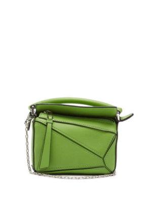 Loewe - Puzzle Nano Leather Cross-body Bag - Womens - Green