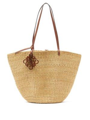 Loewe - Shell Large Leather And Raffia Basket Bag - Womens - Beige