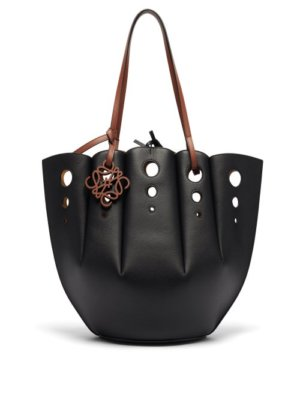 Loewe - Shell Perforated Leather Tote Bag - Womens - Black