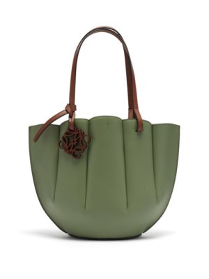 Loewe - Shell Small Leather Tote Bag - Womens - Light Green