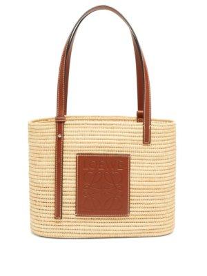 Loewe - Square Small Leather And Raffia Tote Bag - Womens - Beige Multi