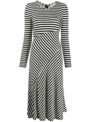 Michael Michael Kors stripe panelled midi dress - Black